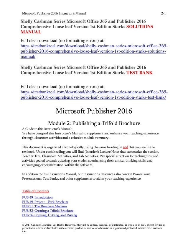 Shelly Cashman Series Microsoft Office 365 And Publisher 2016 Comprehensive Loose Leaf Version 1st Edition Starks Solutions Manual