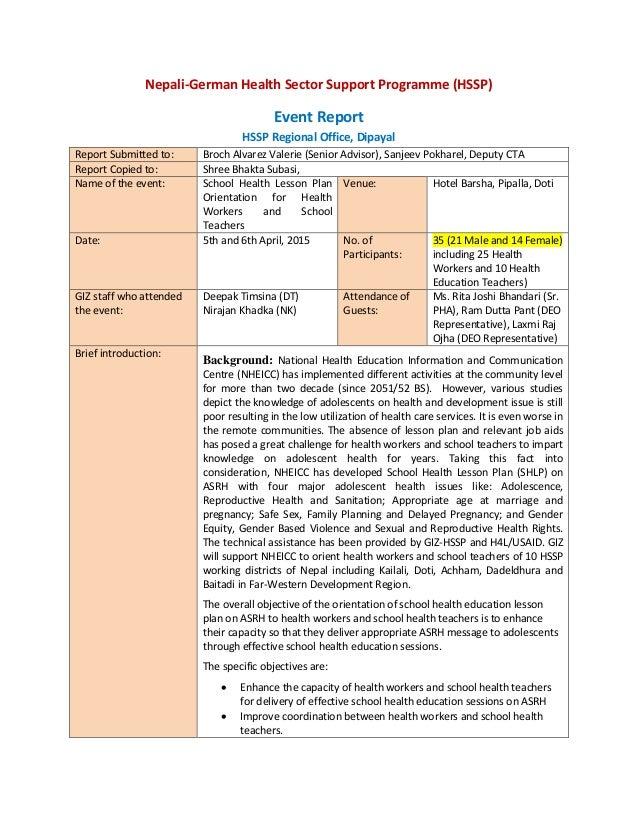 School Health Education Lesson Plan Report Doti Deepak