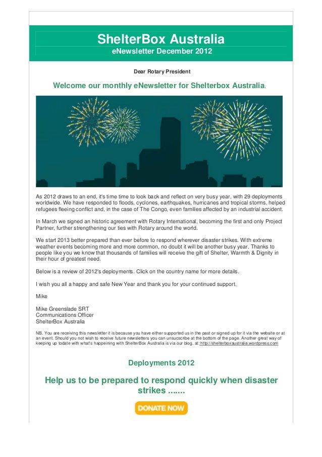 ShelterBox Australia                                        eNewsletter December 2012                                     ...