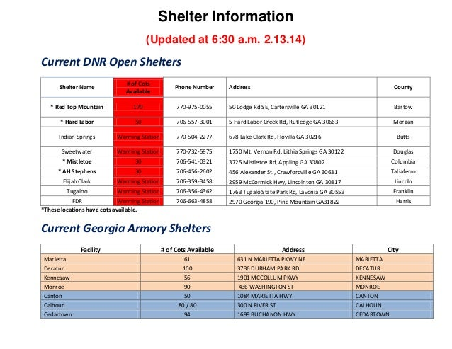 Shelter Information (Updated at 6:30 a.m. 2.13.14)  Current DNR Open Shelters Shelter Name  # of Cots Available  Phone Num...