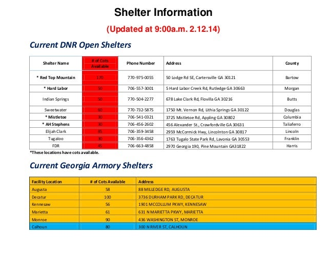 Shelter Information (Updated at 9:00a.m. 2.12.14)  Current DNR Open Shelters Shelter Name  # of Cots Available  Phone Numb...