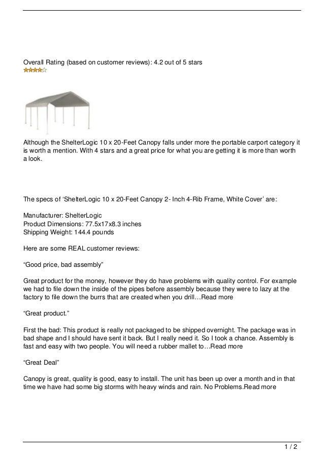 ShelterLogic 10 x 20-Feet Canopy 2- Inch 4-Rib Frame, White Cover Rev…