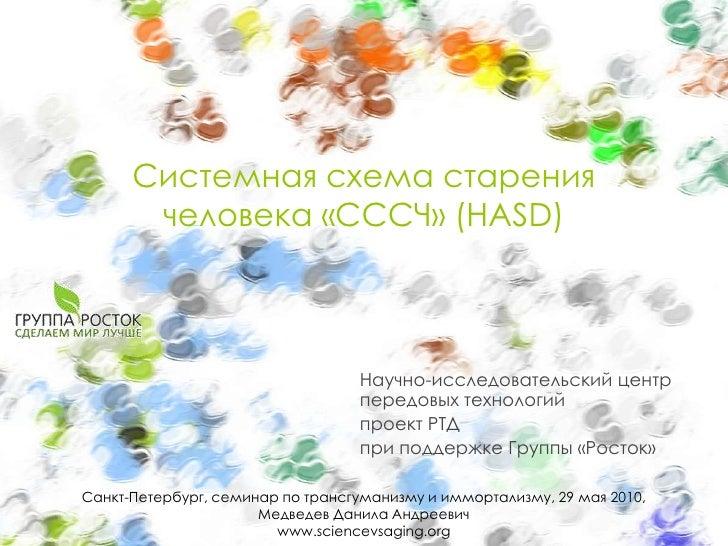 Системная схема старениячеловека«СССЧ» (HASD)<br />Научно-исследовательский центрпередовых технологий<br />проект РТД<br /...