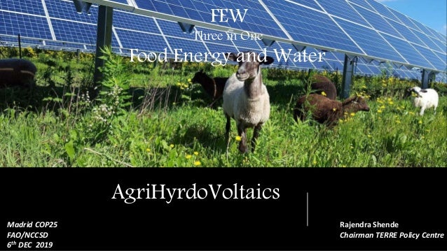 FEW Food, Energy and Water AgriHyrdoVoltaics FEW Three in One Food Energy and Water Rajendra Shende Chairman TERRE Policy ...