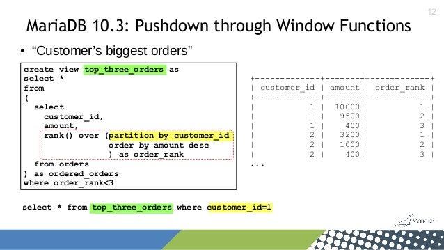 "12 MariaDB 10.3: Pushdown through Window Functions ● ""Customer's biggest orders"" create view top_three_orders as select * ..."