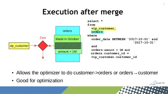 7 Execution after merge vip_customer Join orders select * from vip_customer, orders where order_date BETWEEN '2017-10-01' ...