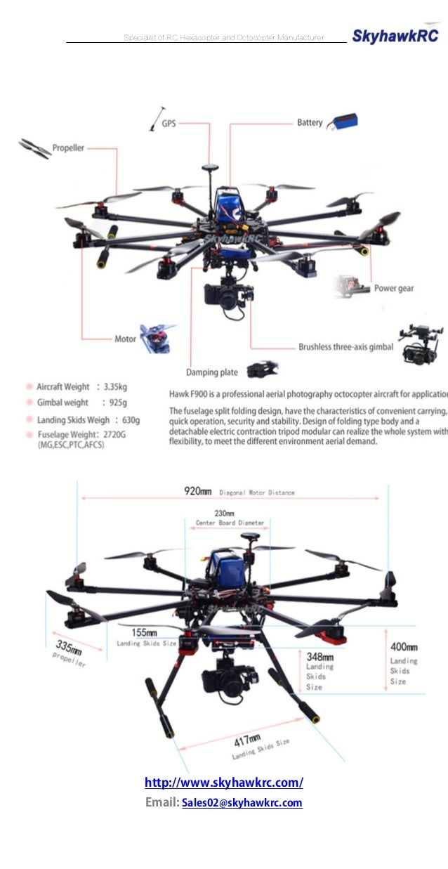 SkyhawkRC F900 Octocopter RC aerial photography drones with
