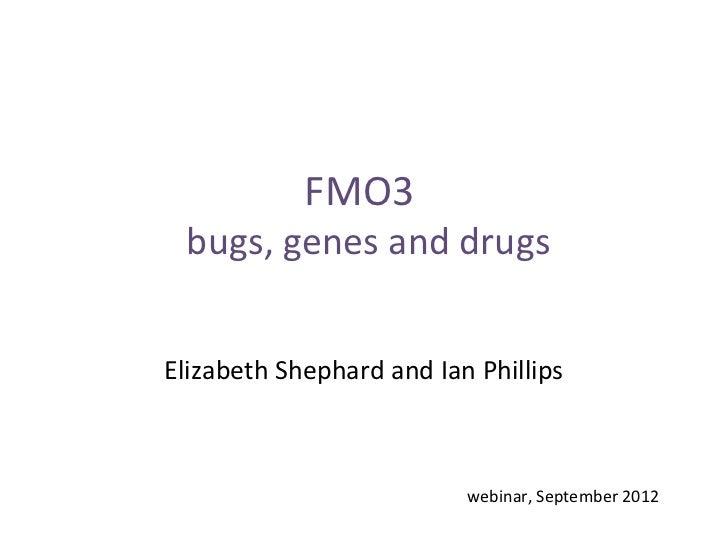 FMO3 bugs, genes and drugsElizabeth Shephard and Ian Phillips                          webinar, September 2012