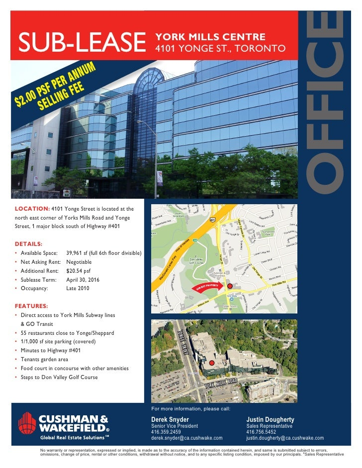 oFFice SUB-LeASe                                                                 YORK MILLS CENTRE                        ...