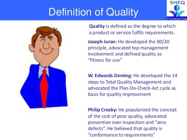 definition of quality and quality manag Quality management is a comprehensive approach to building long-term success for ones company by improving systems, procedures and attitudes.