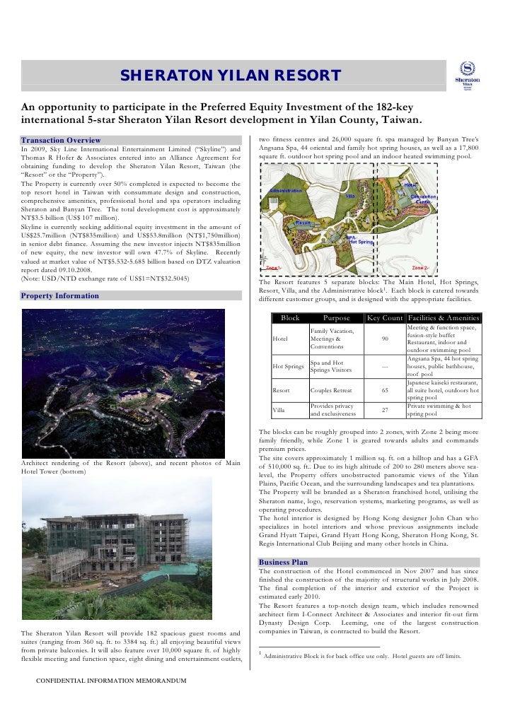 Sheraton Yilan Resort Hotel, Taiwan - Investment Memorandum 2010 …