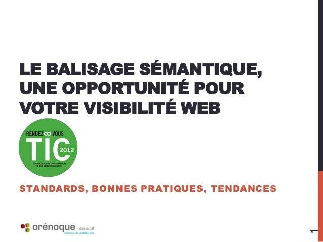 LE BALISAGE SÉMANTIQUE,UNE OPPORTUNITÉ POURVOTRE VISIBILITÉ WEBSTANDARDS, BONNES PRATIQUES, TENDANCES                     ...