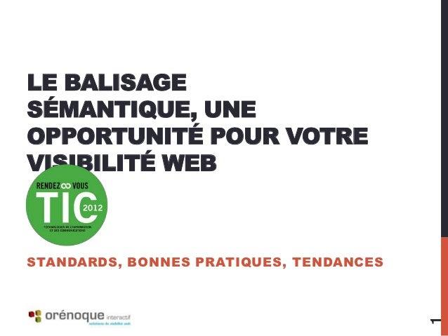 LE BALISAGESÉMANTIQUE, UNEOPPORTUNITÉ POUR VOTREVISIBILITÉ WEBSTANDARDS, BONNES PRATIQUES, TENDANCES                      ...