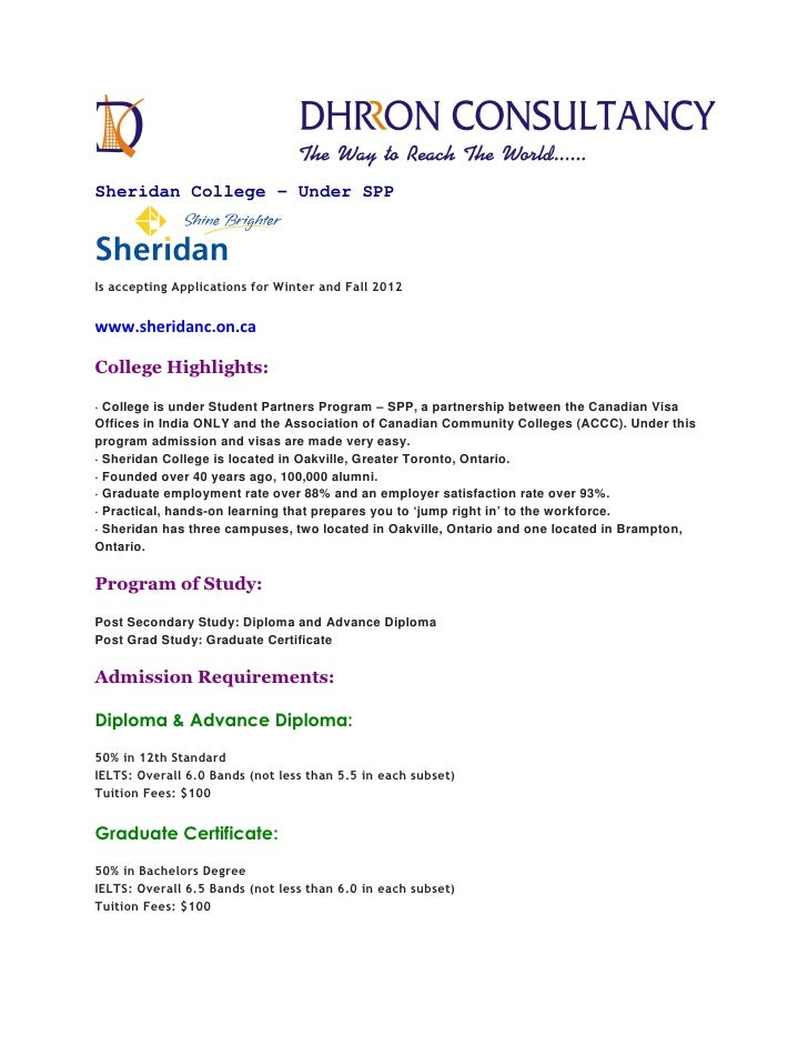 Sheridan College - Under SPPIs accepting Applications for Winter and Fall 2012www.sheridanc.on.caCollege Highlights:· Coll...