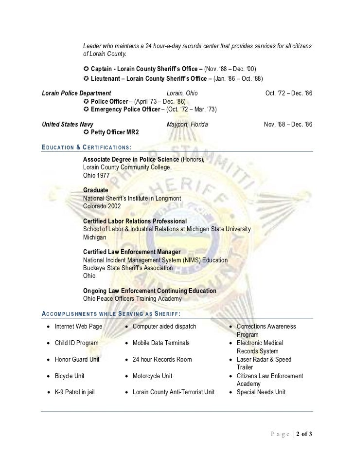 Sheriff Phil R  Stammitti Resume