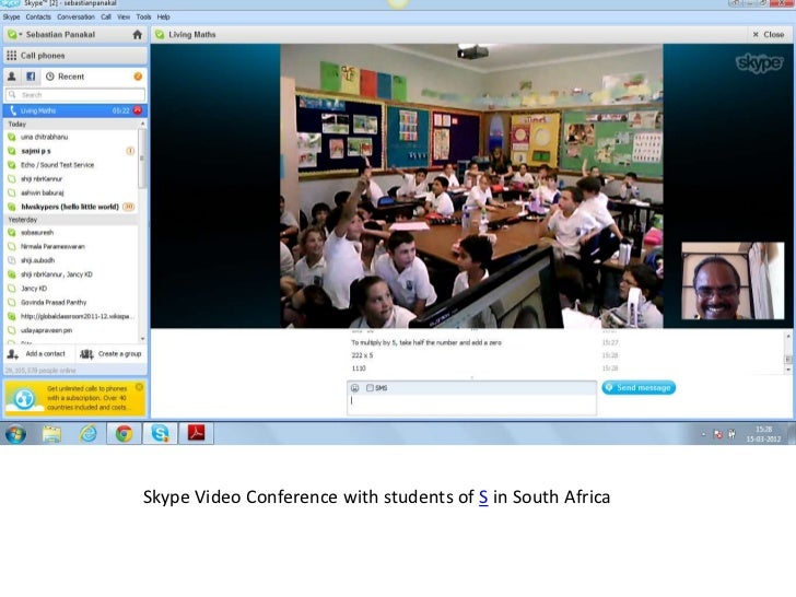 Skype Video Conference with students of S in South Africa
