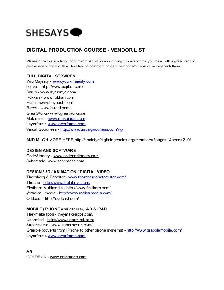 DIGITAL PRODUCTION COURSE - VENDOR LISTPlease note this is a living document that will keep evolving. So every time you me...
