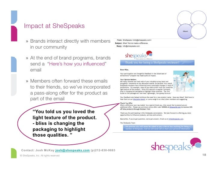 Impact at SheSpeaks                                                           IMpact          » Brands interact directly ...