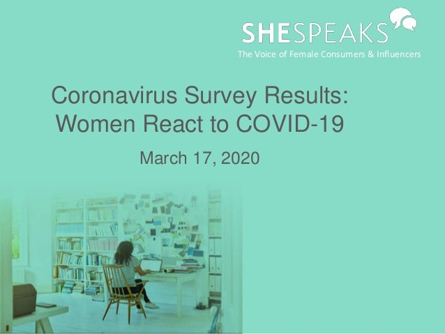 Coronavirus Survey Results: Women React to COVID-19 March 17, 2020 The Voice of Female Consumers & Influencers