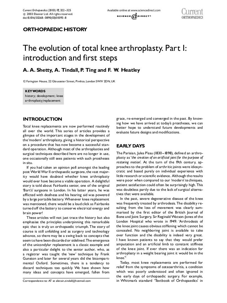 Current Orthopaedics (2003) 17, 322--325 2003 Elsevier Ltd. All rights reserved.cdoi:10.1016/S0268 - 0890(03)00093- 8ORTHO...