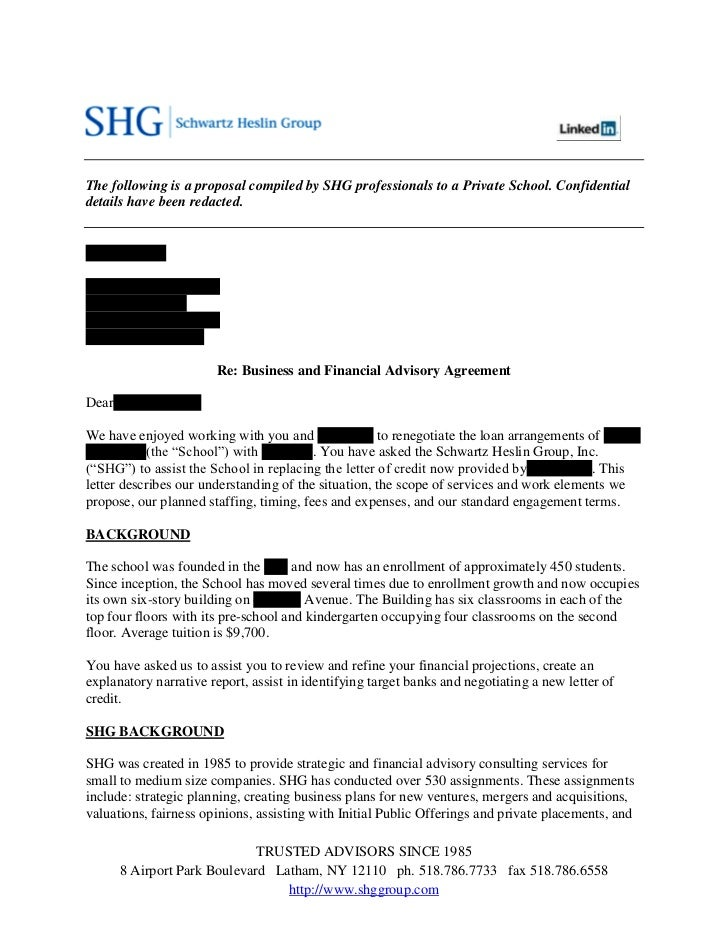 SHG: Sample Strategic Advisory Proposal