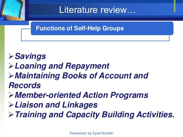 Literature review of self help groups