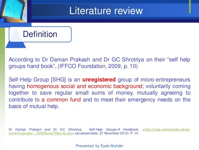 literature review of self help group