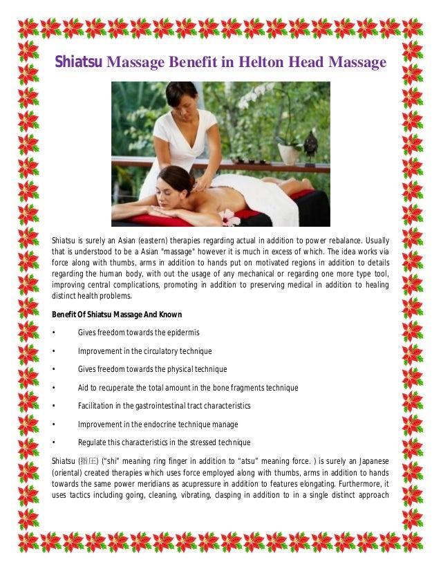 Shiatsu Massage Benefit In Helton Head Massage