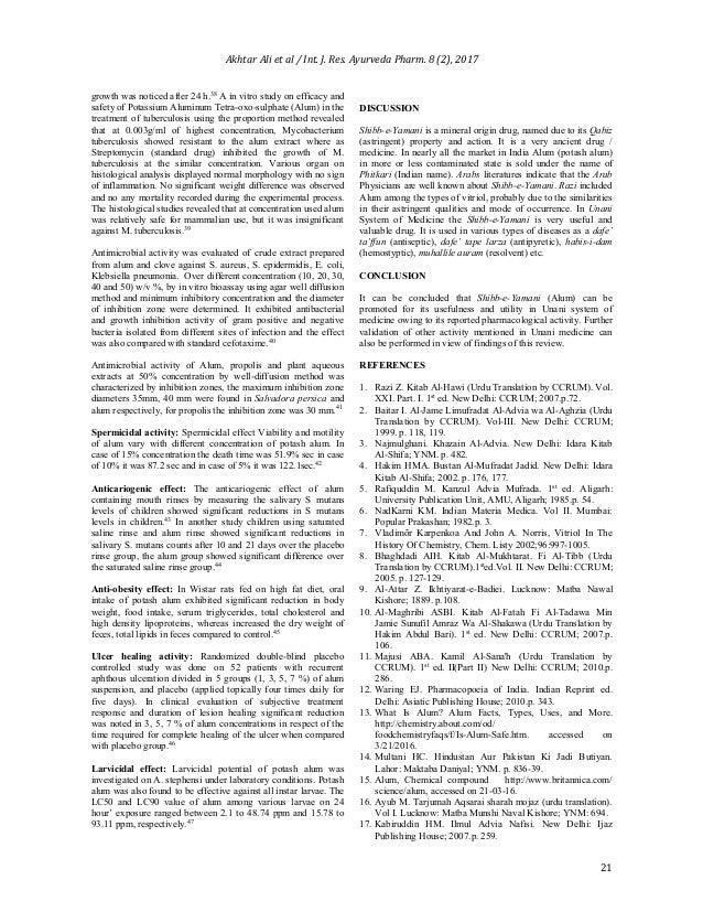 Shibb e-yamani (alum) a unique drug and its utilization in