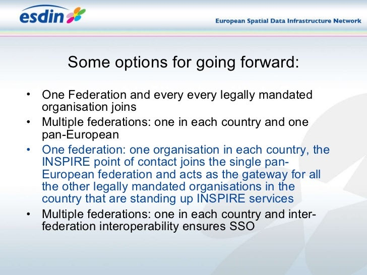 Some options for going forward: <ul><li>One Federation and every every legally mandated organisation joins </li></ul><ul><...