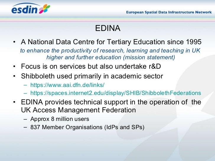 EDINA <ul><li>A National Data Centre for Tertiary Education since 1995 </li></ul><ul><li>to enhance the productivity of re...