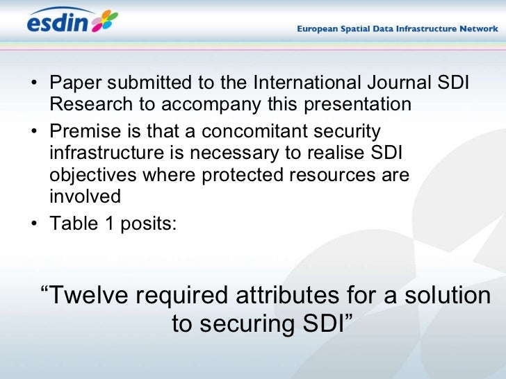 """"""" Twelve required attributes for a solution to securing SDI"""" <ul><li>Paper submitted to the International Journal SDI Rese..."""