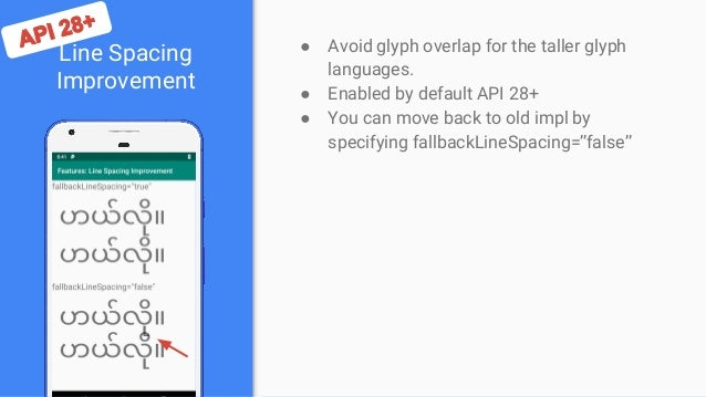 Line Spacing Improvement ● Avoid glyph overlap for the taller glyph languages. ● Enabled by default API 28+ ● You can move...