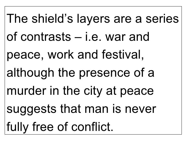 shield of achilles auden essay Name professor course date the shield of achilles the shield of achilles is difficult to depict since it contains a wide range of themes for instance, in this single shield, people can see scenes of pastoral calm together with war.