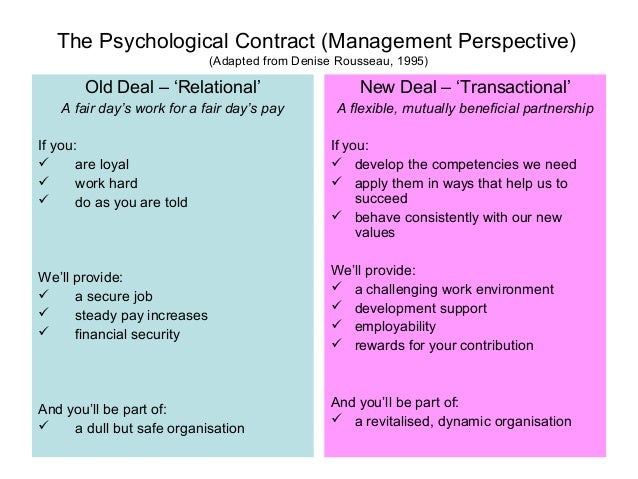 psycological contract Psychological contract pinpoints the underlying processes regarding expectation  within the employee and employer relationship to ensure a healthy and.