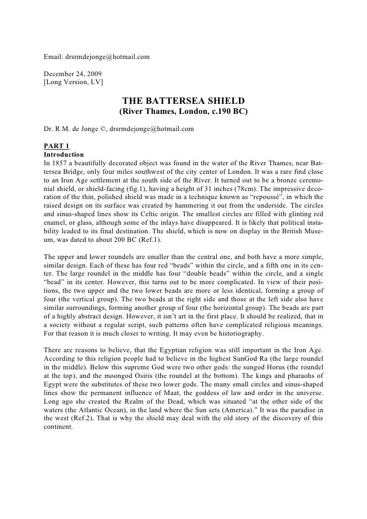 Email: drsrmdejonge@hotmail.com  December 24, 2009 [Long Version, LV]                              THE BATTERSEA SHIELD   ...