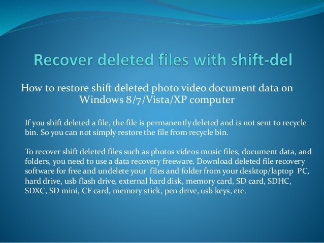Recovering data after deleted from recycle bin