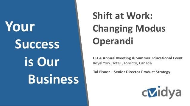 CFCA Annual Meeting & Summer Educational Event Royal York Hotel , Toronto, Canada Shift at Work: Changing Modus Operandi Y...