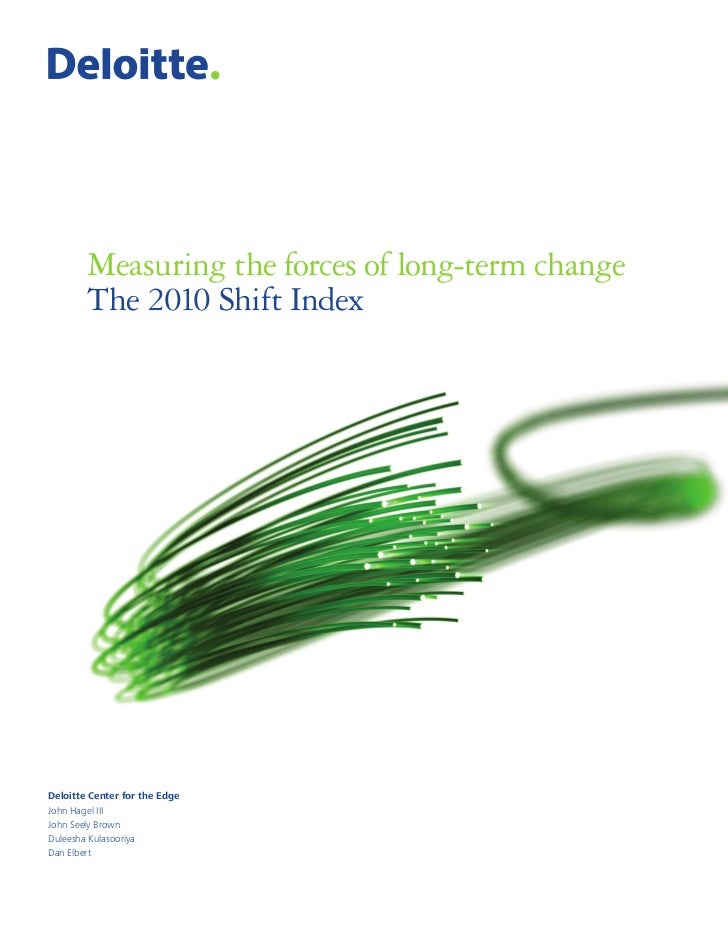 Measuring the forces of long-term change        The 2010 Shift IndexDeloitte Center for the EdgeJohn Hagel IIIJohn Seely B...