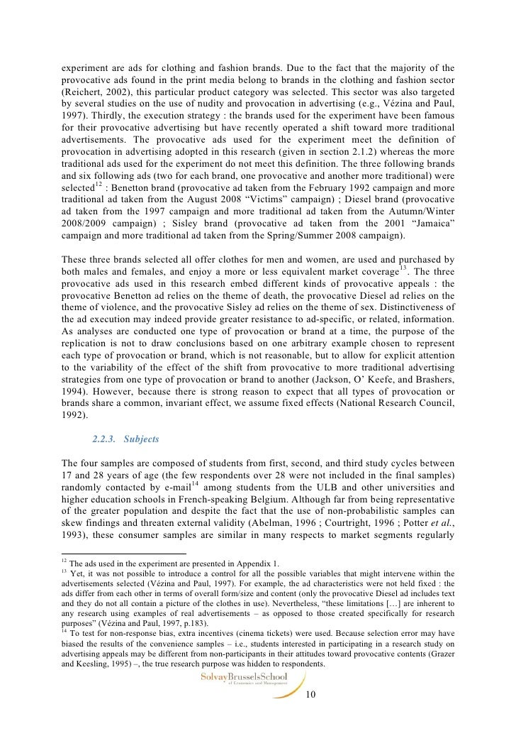 provocative advertising thesis 2005:118 shu bachelor's thesis sexually provocative advertising how young men respond to it jessica enbom stina gustafsson luleå university of technology.