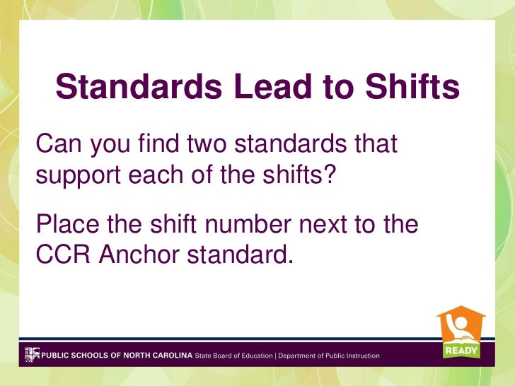 Standards Lead to ShiftsCan you find two standards thatsupport each of the shifts?Place the shift number next to theCCR An...