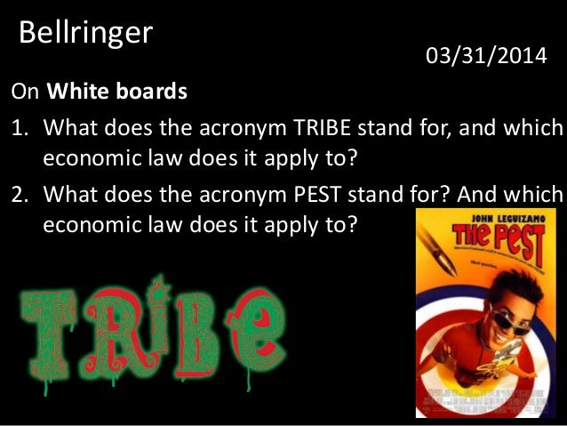 Bellringer 03/31/2014 On White boards 1. What does the acronym TRIBE stand for, and which economic law does it apply to? 2...