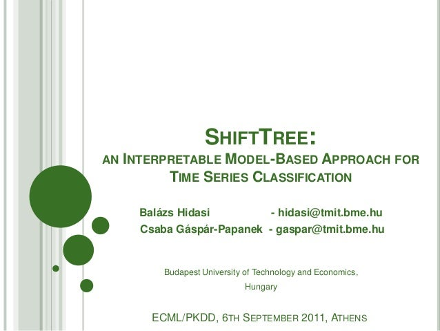 SHIFTTREE:AN INTERPRETABLE  MODEL-BASED APPROACH FOR          TIME SERIES CLASSIFICATION     Balázs Hidasi                ...