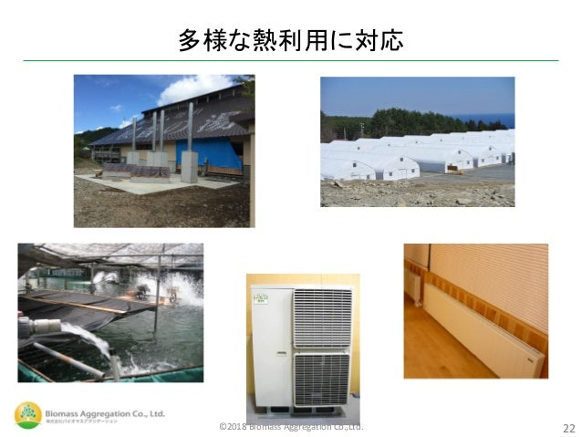 多様な熱利用に対応 22©2018 Biomass Aggregation Co.,Ltd.