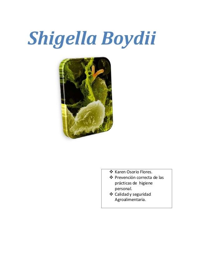 Shigella Boydii Karen Osorio Flores. Prevención correcta de lasprácticas de higienepersonal. Calidad y seguridadAgroali...