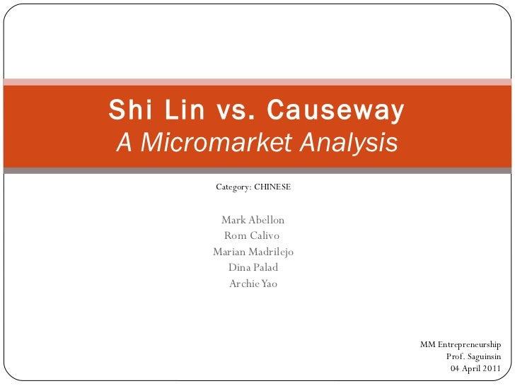 Mark Abellon Rom Calivo  Marian Madrilejo Dina Palad Archie Yao Shi Lin vs. Causeway A Micromarket Analysis MM Entrepreneu...