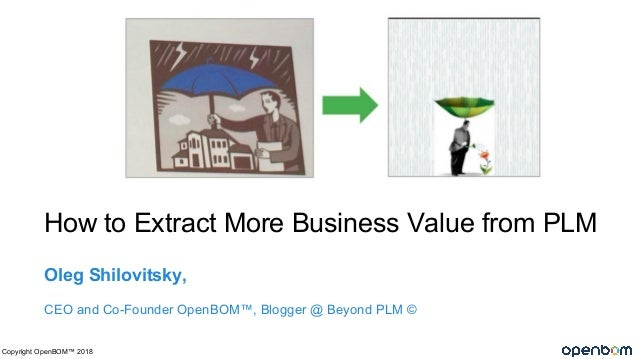 How to Extract More Business Value from PLM Oleg Shilovitsky, CEO and Co-Founder OpenBOM™, Blogger @ Beyond PLM © Copyrigh...