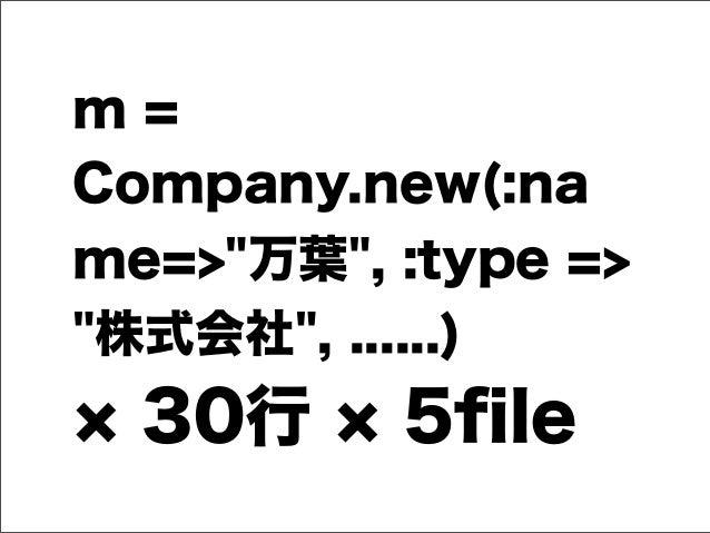 "m = Company.new(:na me=>""万葉"", :type => ""株式会社"", ......) 30行 5file"