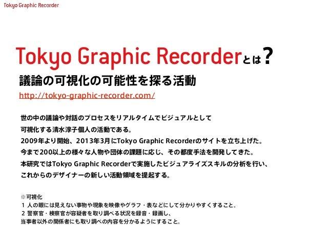 http://tokyo-graphic-recorder.com/ 議論の可視化の可能性を探る活動 世の中の議論や対話のプロセスをリアルタイムでビジュアルとして 可視化する清水淳子個人の活動である。 2009年より開始、2013年3月にTok...