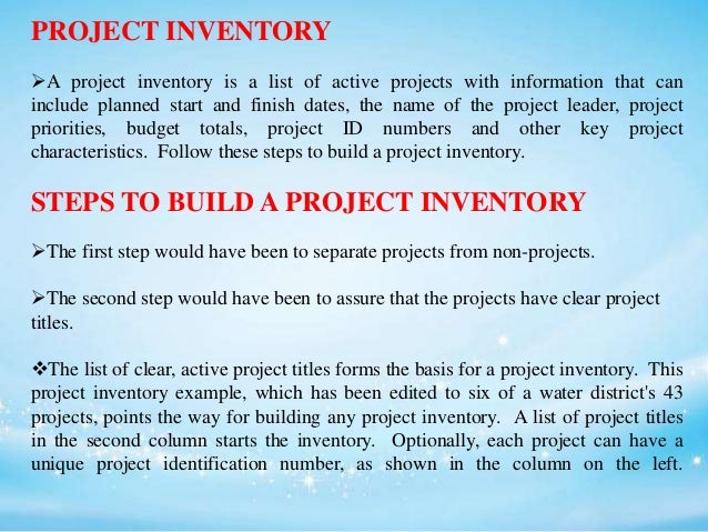 Project inventory Slide 3